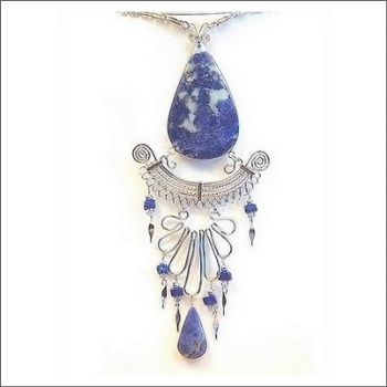Peruvian Medallion Necklace with Sodalite